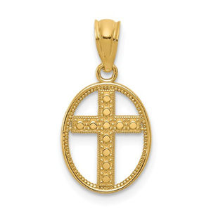 14k Gold Polished Cross in Oval Pendant